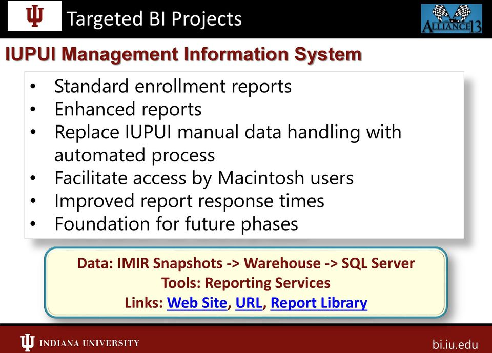 access by Macintosh users Improved report response times Foundation for future phases Data: