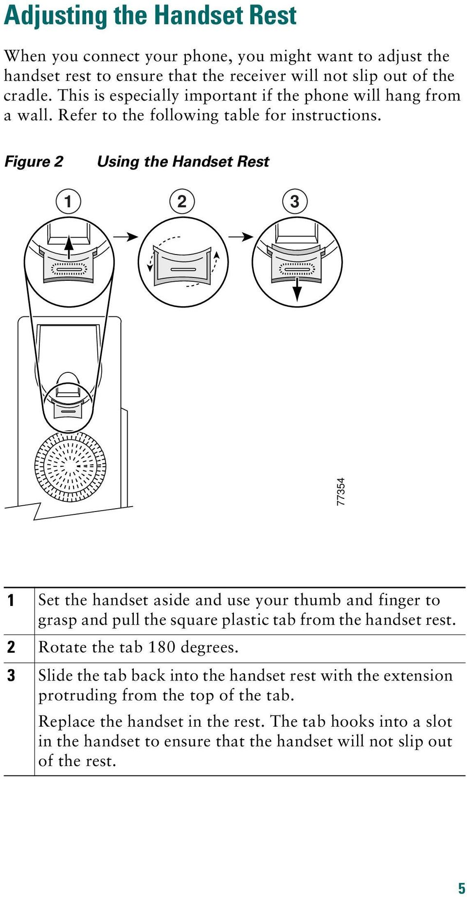 Figure 2 Using the Handset Rest 1 2 3 77354 1 Set the handset aside and use your thumb and finger to grasp and pull the square plastic tab from the handset rest.