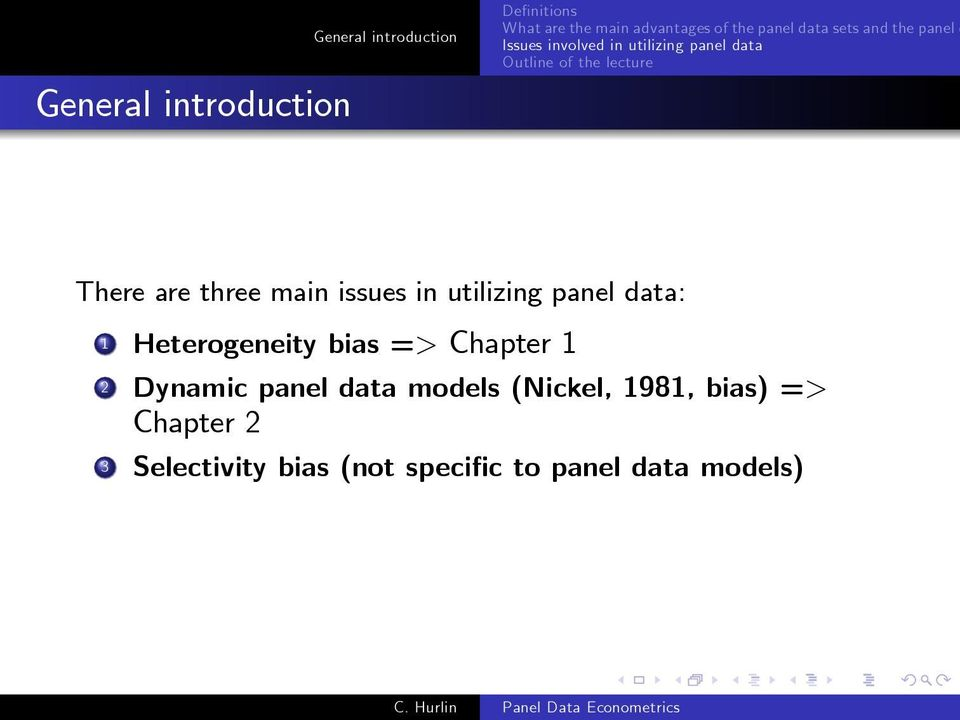 panel data models (Nickel, 1981, bias) => Chapter