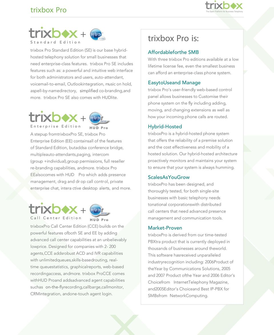 aspell-by-namedirectory, co-branding,and more. trixbox Pro SE also comes with HUDlite.
