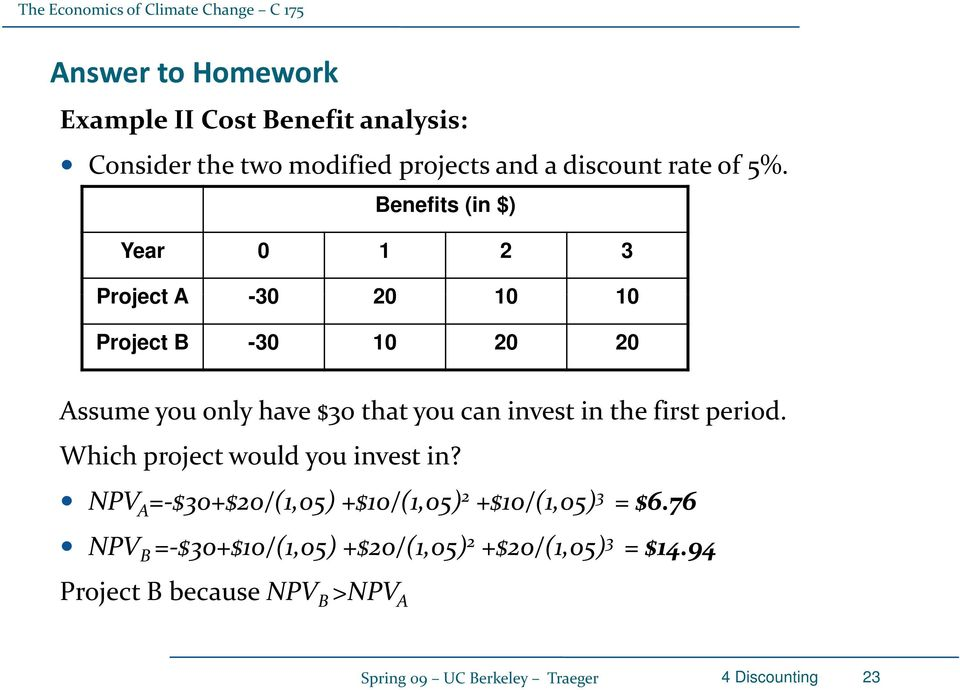 the first period. Which project would you invest in? NPV 05) 05) 05) A = $30+$20/(,05) +$0/(,05) 2 +$0/(,05) 3 = $6.