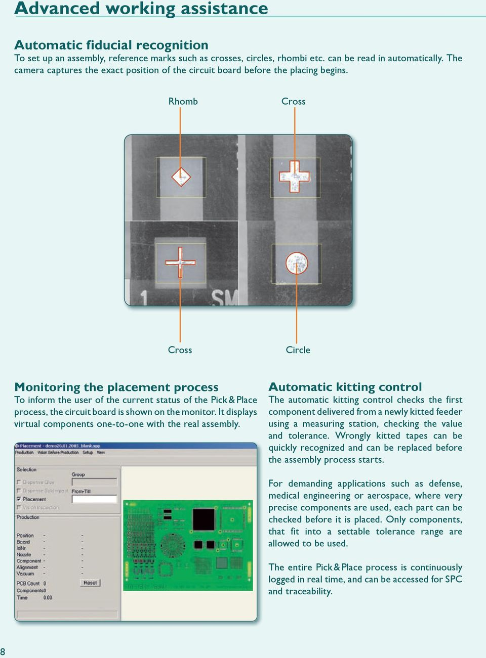 Rhomb Cross Cross Circle Monitoring the placement process To inform the user of the current status of the Pick & Place process, the circuit board is shown on the monitor.