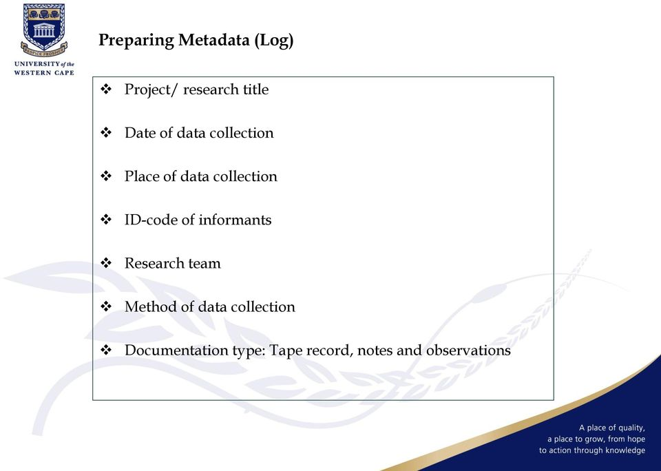 of informants Research team Method of data collection