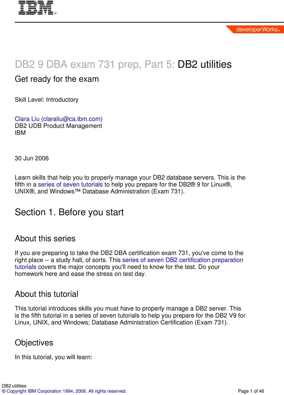Db2 9 Dba Exam 731 Prep Part 5 Db2 Utilities Pdf