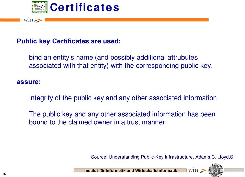assure: Integrity of the public key and any other associated information The public key and any other