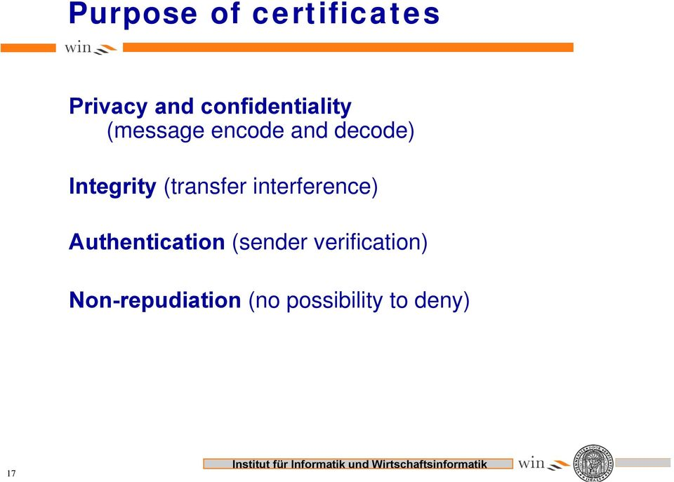 Integrity (transfer interference) Authentication