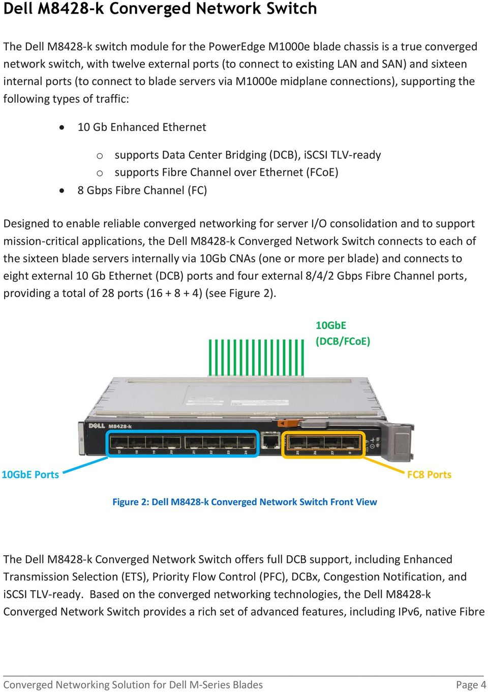(DCB), iscsi TLV-ready o supports Fibre Channel over Ethernet (FCoE) 8 Gbps Fibre Channel (FC) Designed to enable reliable converged networking for server I/O consolidation and to support