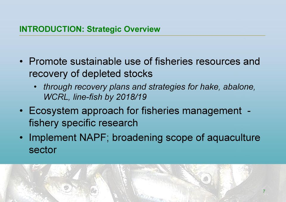 abalone, WCRL, line-fish by 2018/19 Ecosystem approach for fisheries management