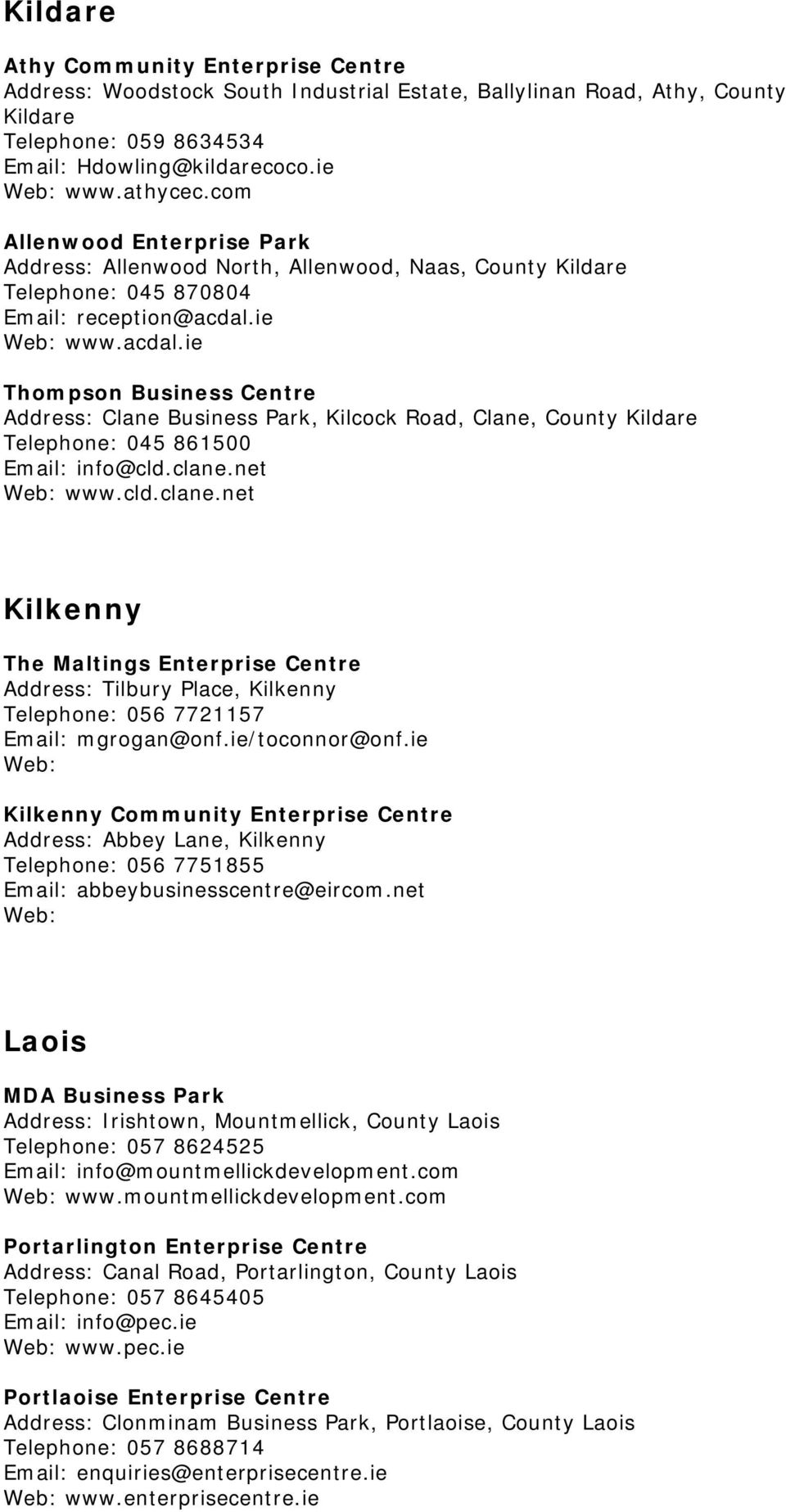 ie www.acdal.ie Thompson Business Centre Address: Clane Business Park, Kilcock Road, Clane, County Kildare Telephone: 045 861500 info@cld.clane.