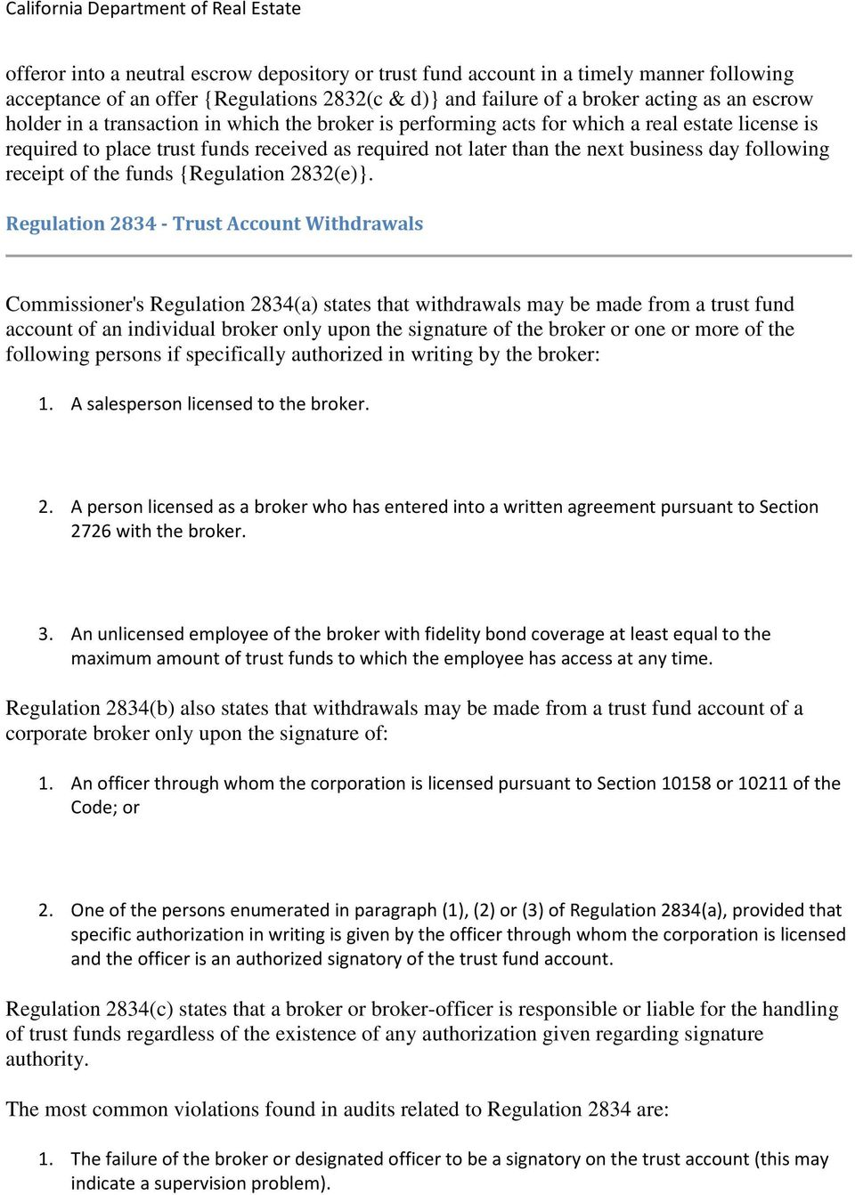 funds {Regulation 2832(e)}.