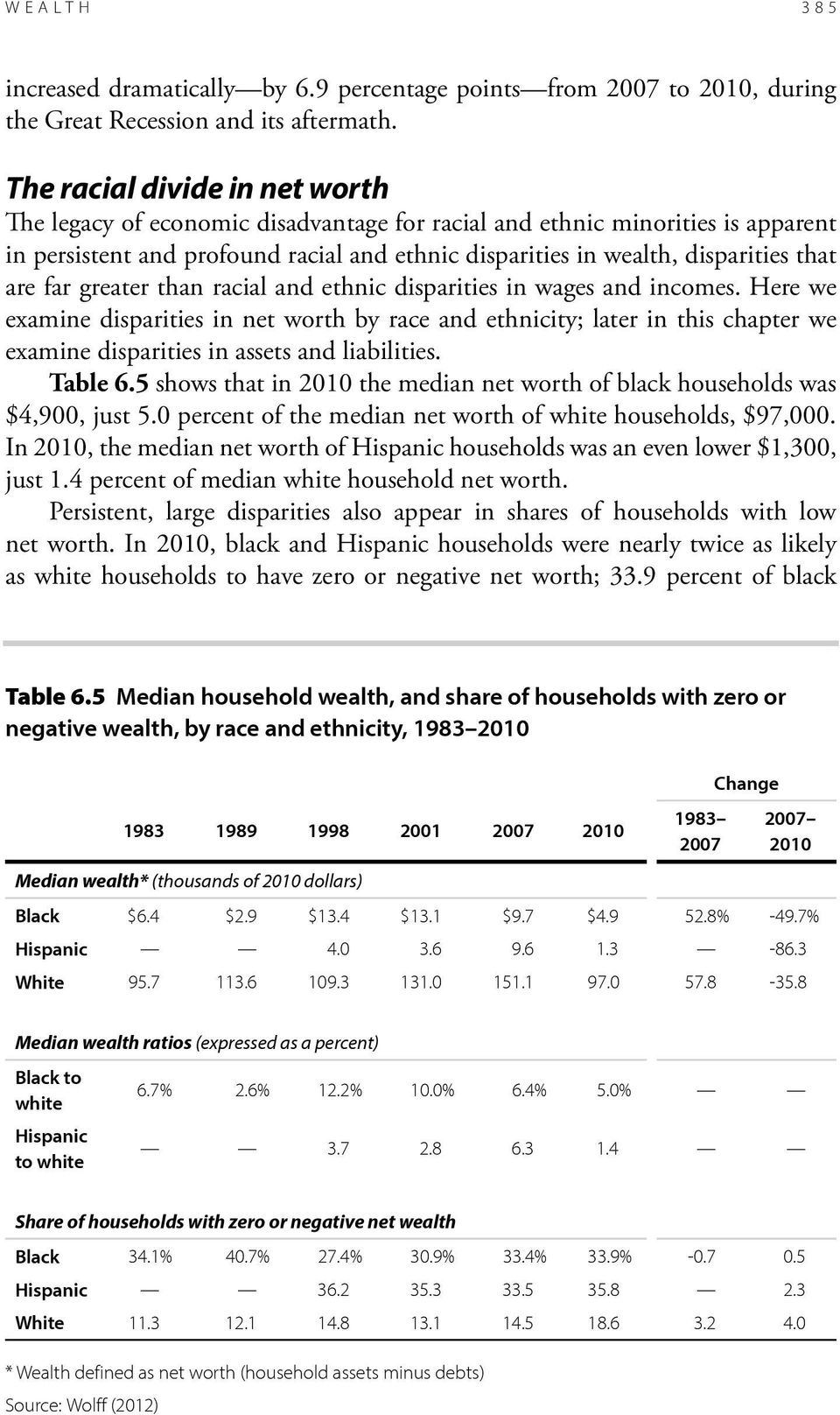are far greater than racial and ethnic disparities in wages and incomes.