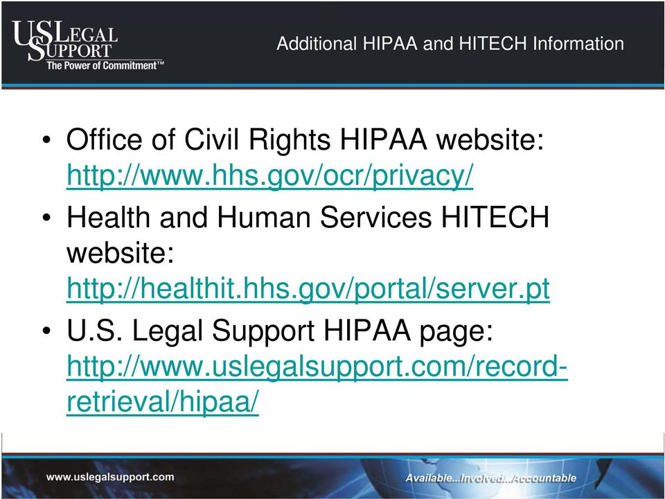 gov/ocr/privacy/ Health and Human Services HITECH website: