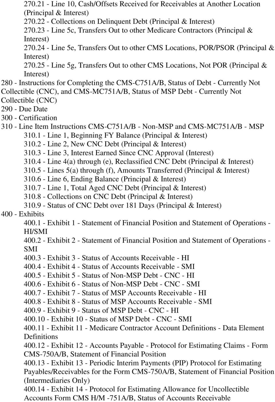 25 - Line 5g, Transfers Out to other CMS Locations, Not POR (Principal & Interest) 280 - Instructions for Completing the CMS-C751A/B, Status of Debt - Currently Not Collectible (CNC), and