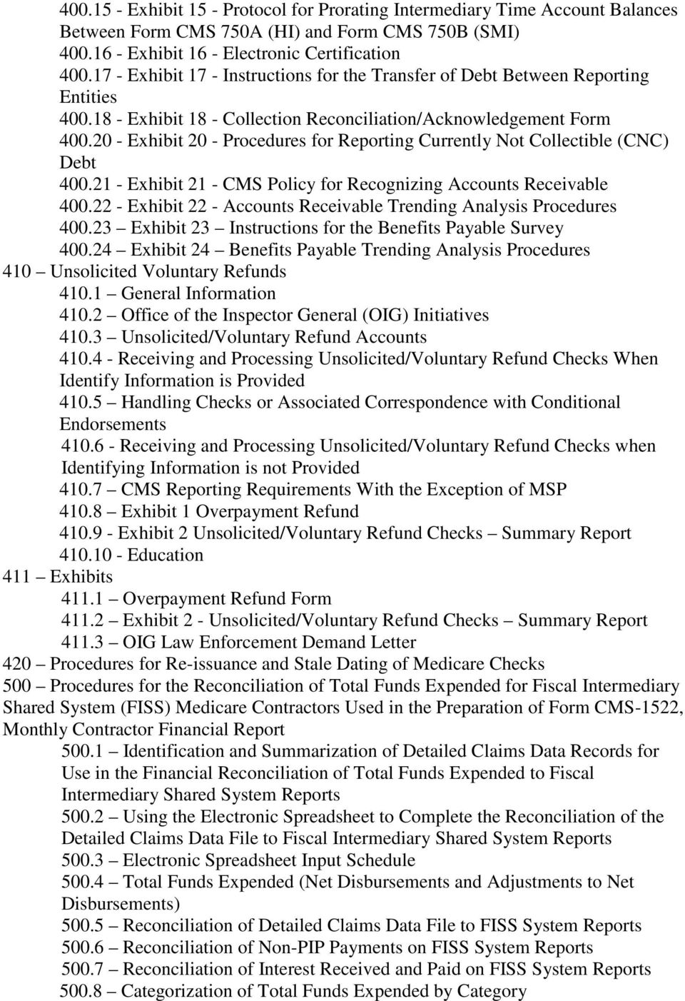 20 - Exhibit 20 - Procedures for Reporting Currently Not Collectible (CNC) Debt 400.21 - Exhibit 21 - CMS Policy for Recognizing Accounts Receivable 400.