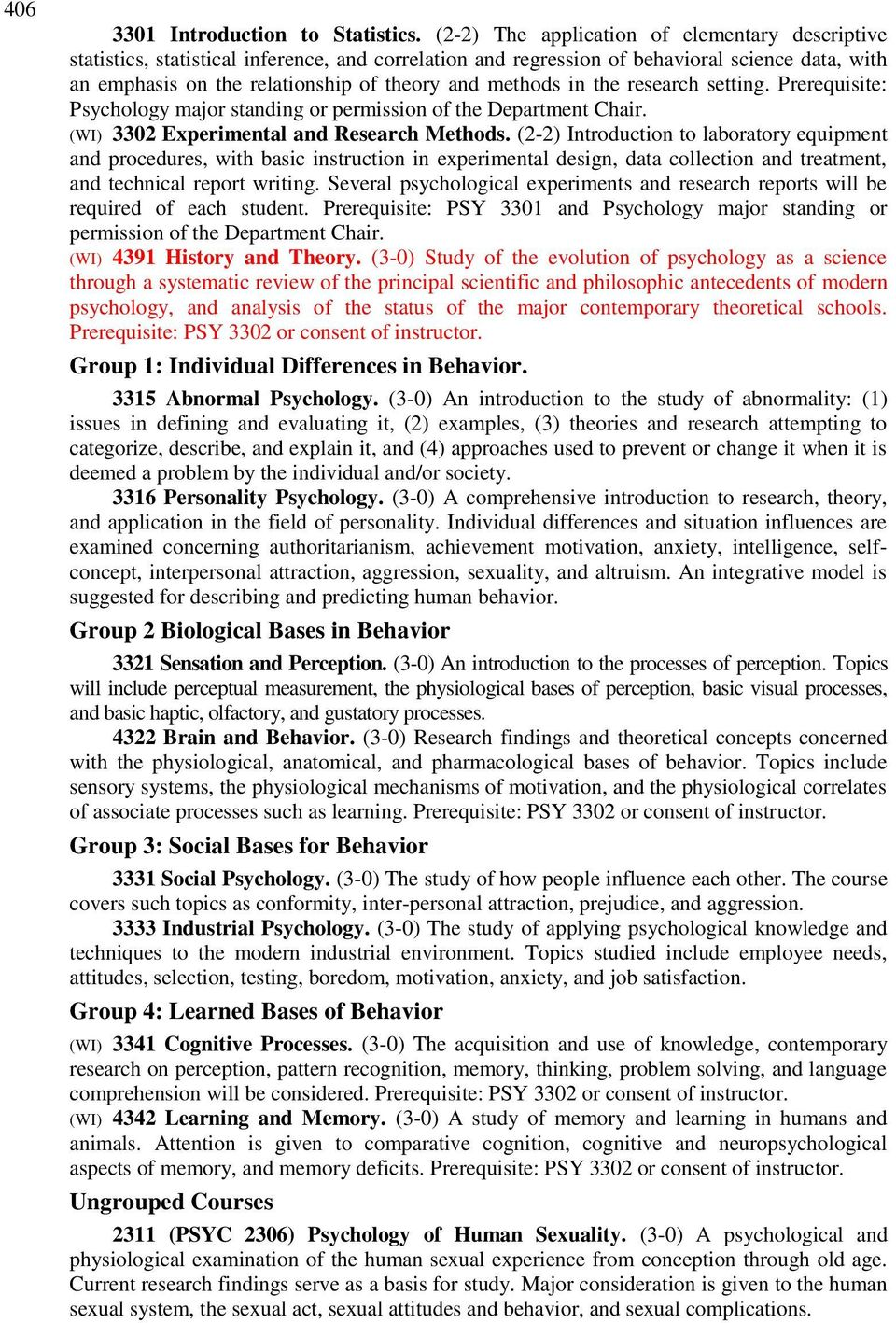 methods in the research setting. Prerequisite: Psychology major standing or permission of the Department Chair. (WI) 3302 Experimental and Research Methods.
