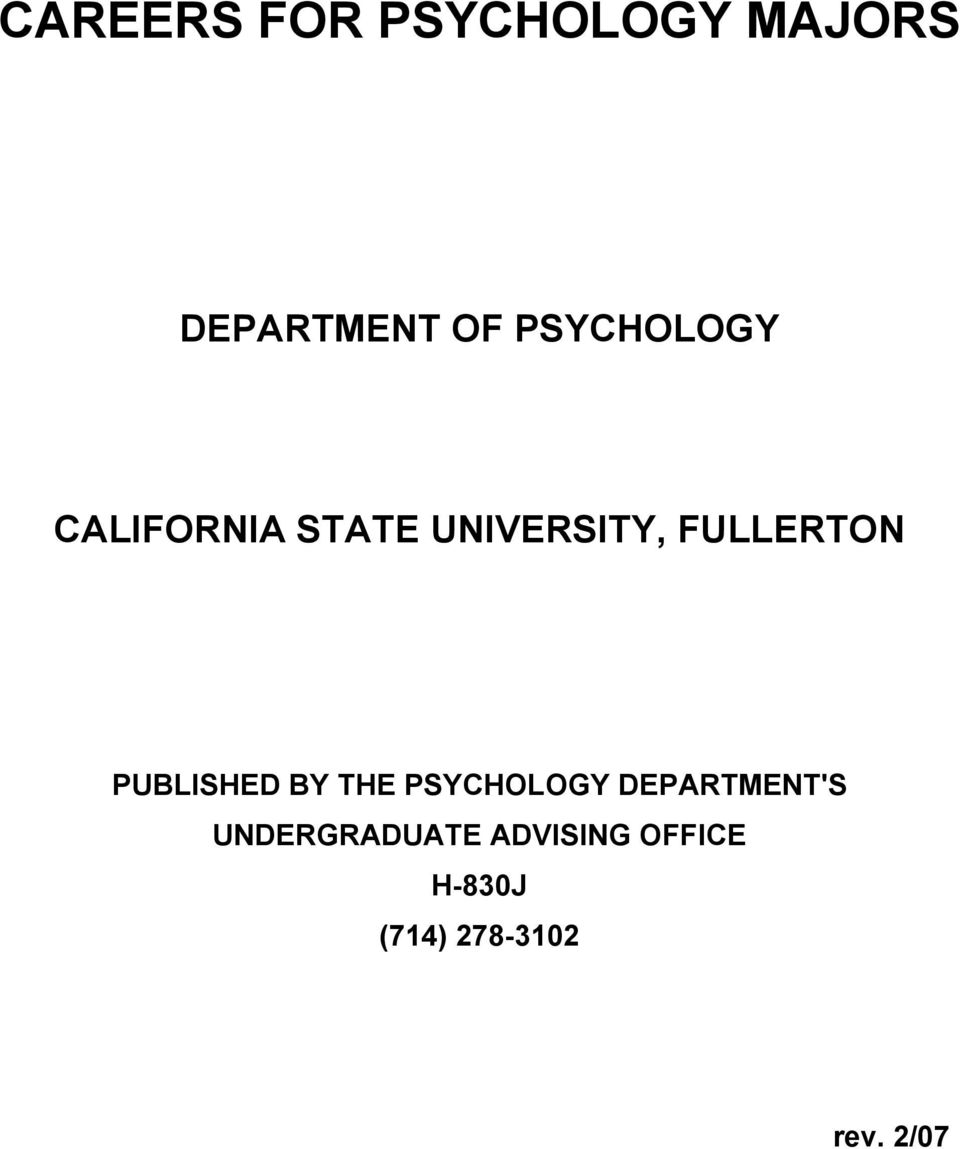 FULLERTON PUBLISHED BY THE PSYCHOLOGY