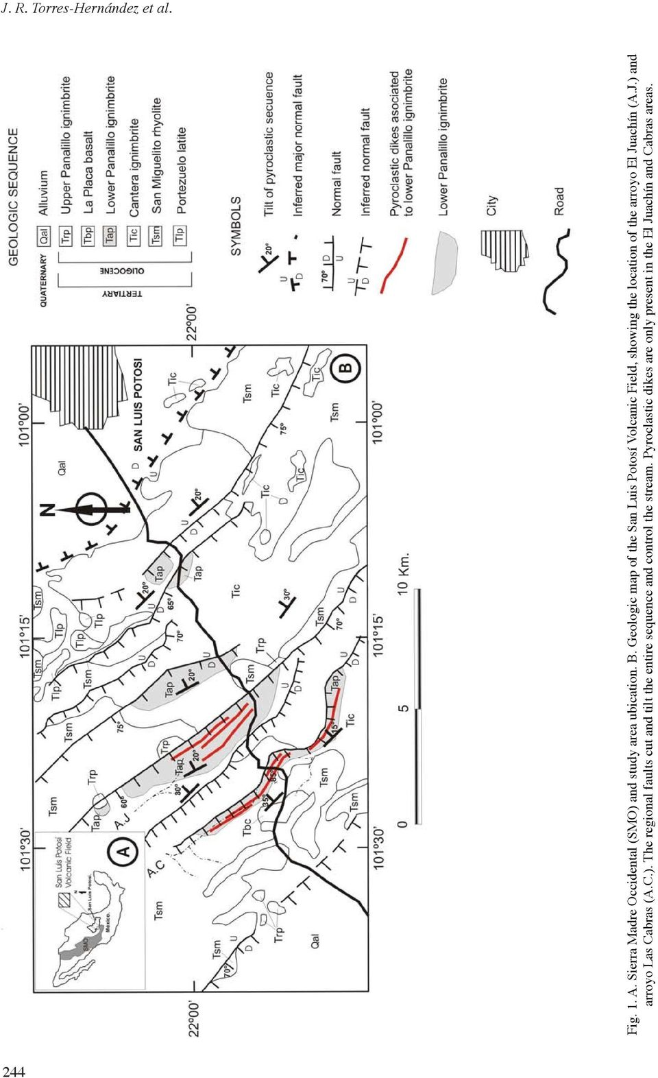 Juachín (A.J.) and arroyo Las Cabras (A.C.). The regional faults cut and tilt the entire sequence and control the stream.