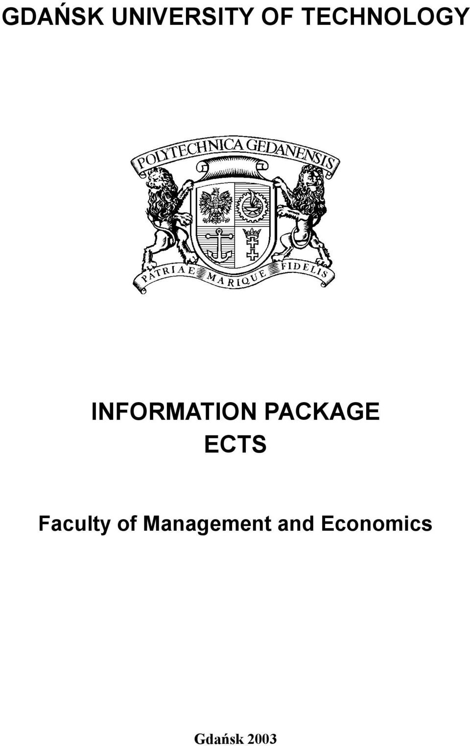 PACKAGE ECTS Faculty of