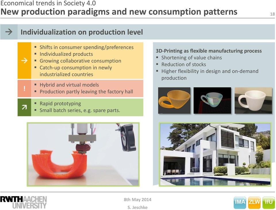 industrialized countries Hybrid and virtual models Production partly leaving the factory hall Rapid prototyping Small batch series, e.g. spare parts.