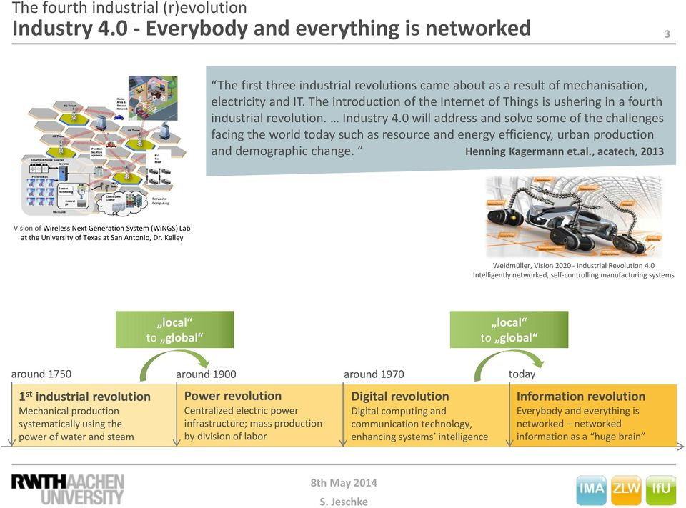0 will address and solve some of the challenges facing the world today such as resource and energy efficiency, urban production and demographic change. Henning Kagermann et.al., acatech, 2013 Vision of Wireless Next Generation System (WiNGS) Lab at the University of Texas at San Antonio, Dr.