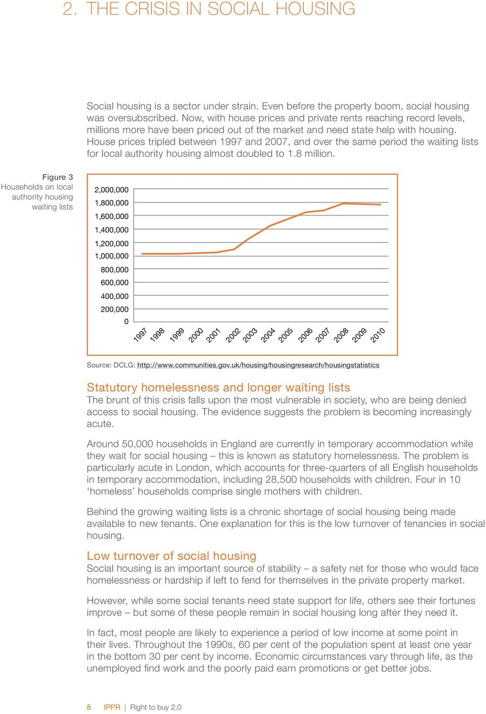 House prices tripled between 1997 and 2007, and over the same period the waiting lists for local authority housing almost doubled to 1.8 million.