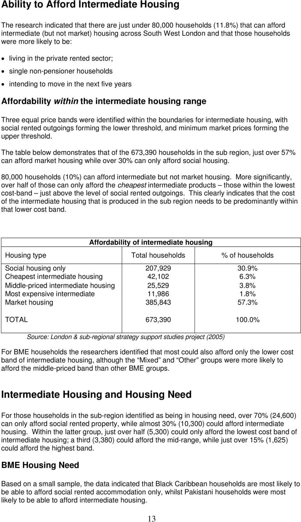 households intending to move in the next five years Affordability within the intermediate housing range Three equal price bands were identified within the boundaries for intermediate housing, with