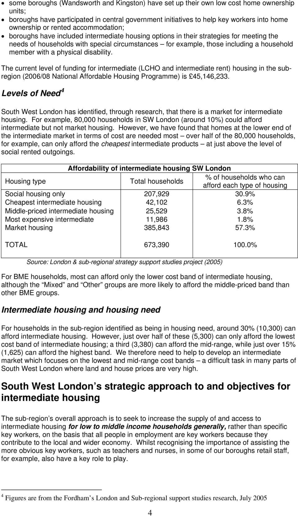member with a physical disability. The current level of funding for intermediate (LCHO and intermediate rent) housing in the subregion (2006/08 National Affordable Housing Programme) is 45,146,233.
