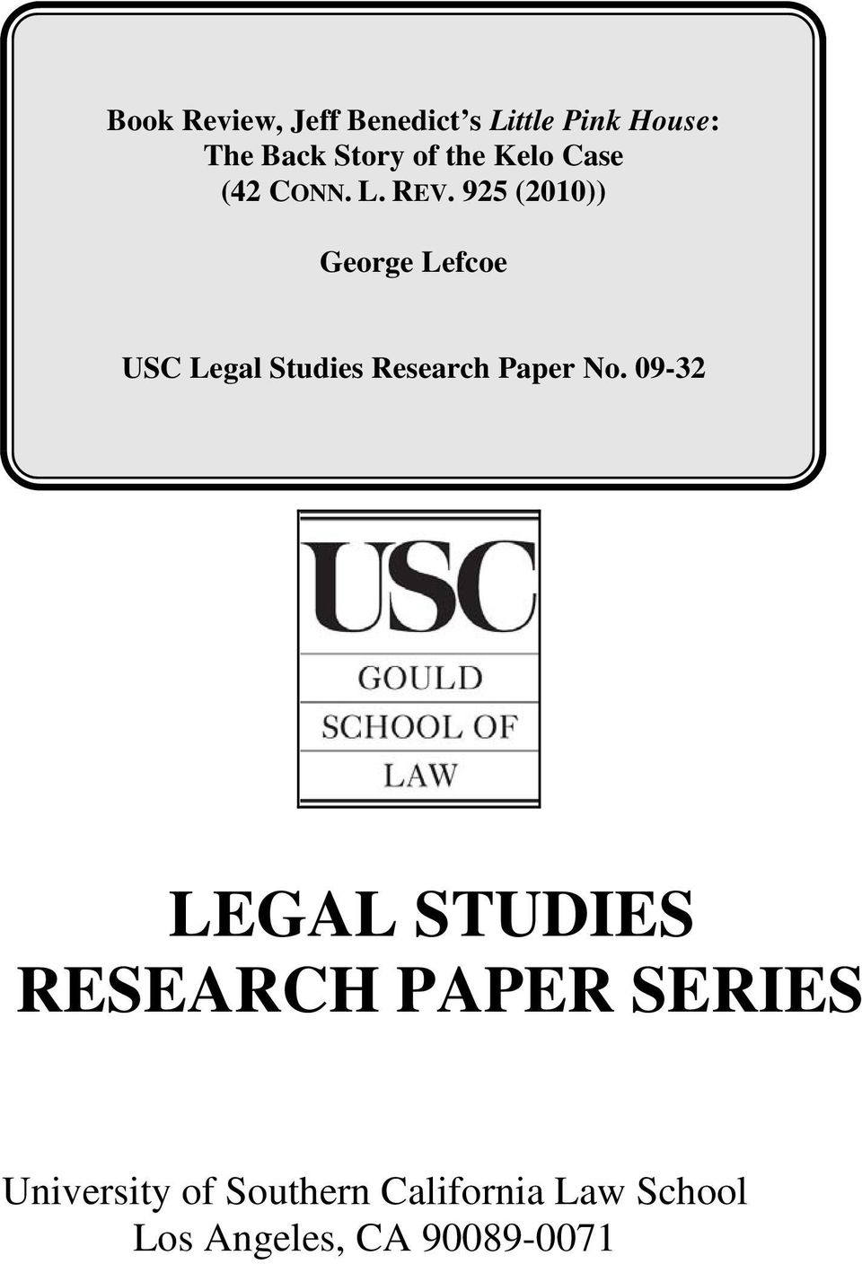 925 (2010)) George Lefcoe USC Legal Studies Research Paper No.