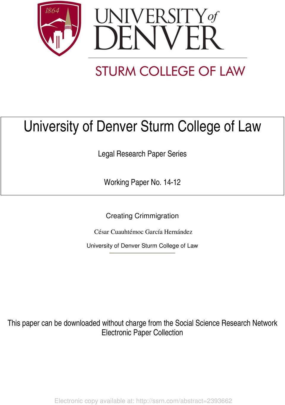 College of Law This paper can be downloaded without charge from the Social Science Research