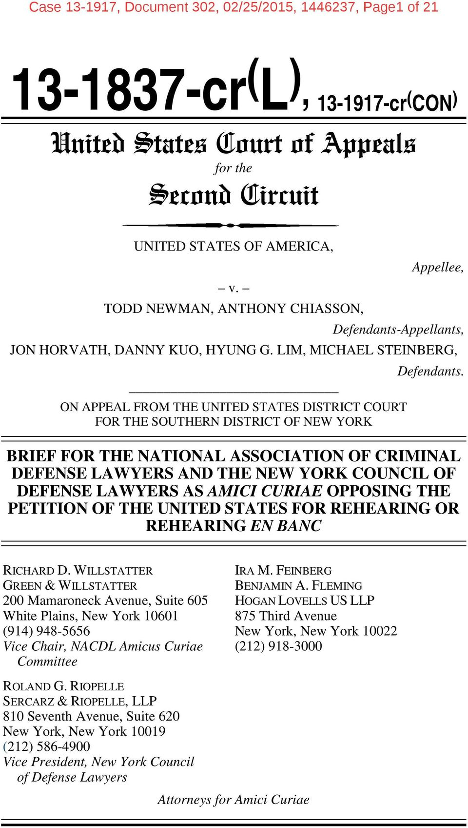 LIM, MICHAEL STEINBERG, ON APPEAL FROM THE UNITED STATES DISTRICT COURT FOR THE SOUTHERN DISTRICT OF NEW YORK Defendants.