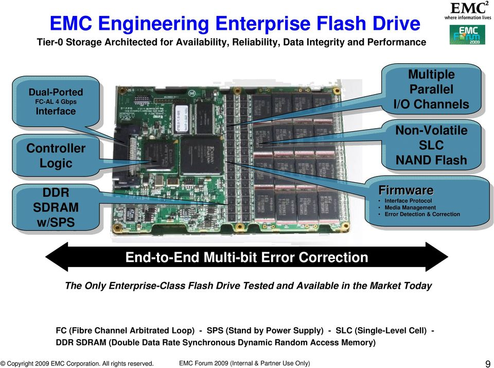 Management Error Detection & Correction End-to-End Multi-bit Error Correction The Only Enterprise-Class Flash Drive Tested and Available in the Market Today FC (Fibre Channel