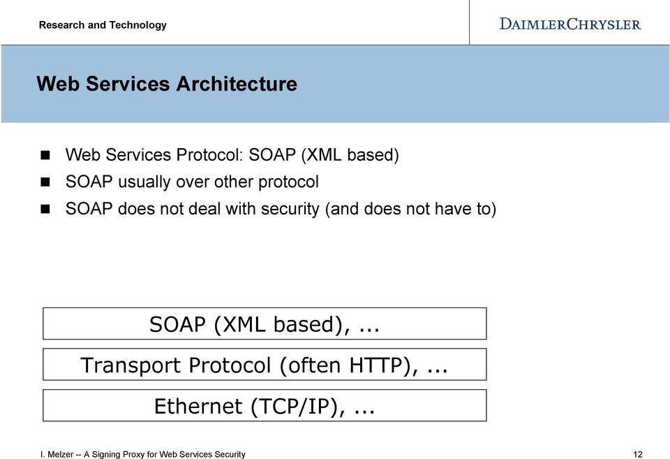 not have to) SOAP (XML based),... Transport Protocol (often HTTP),.