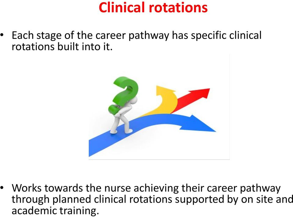 Works towards the nurse achieving their career pathway