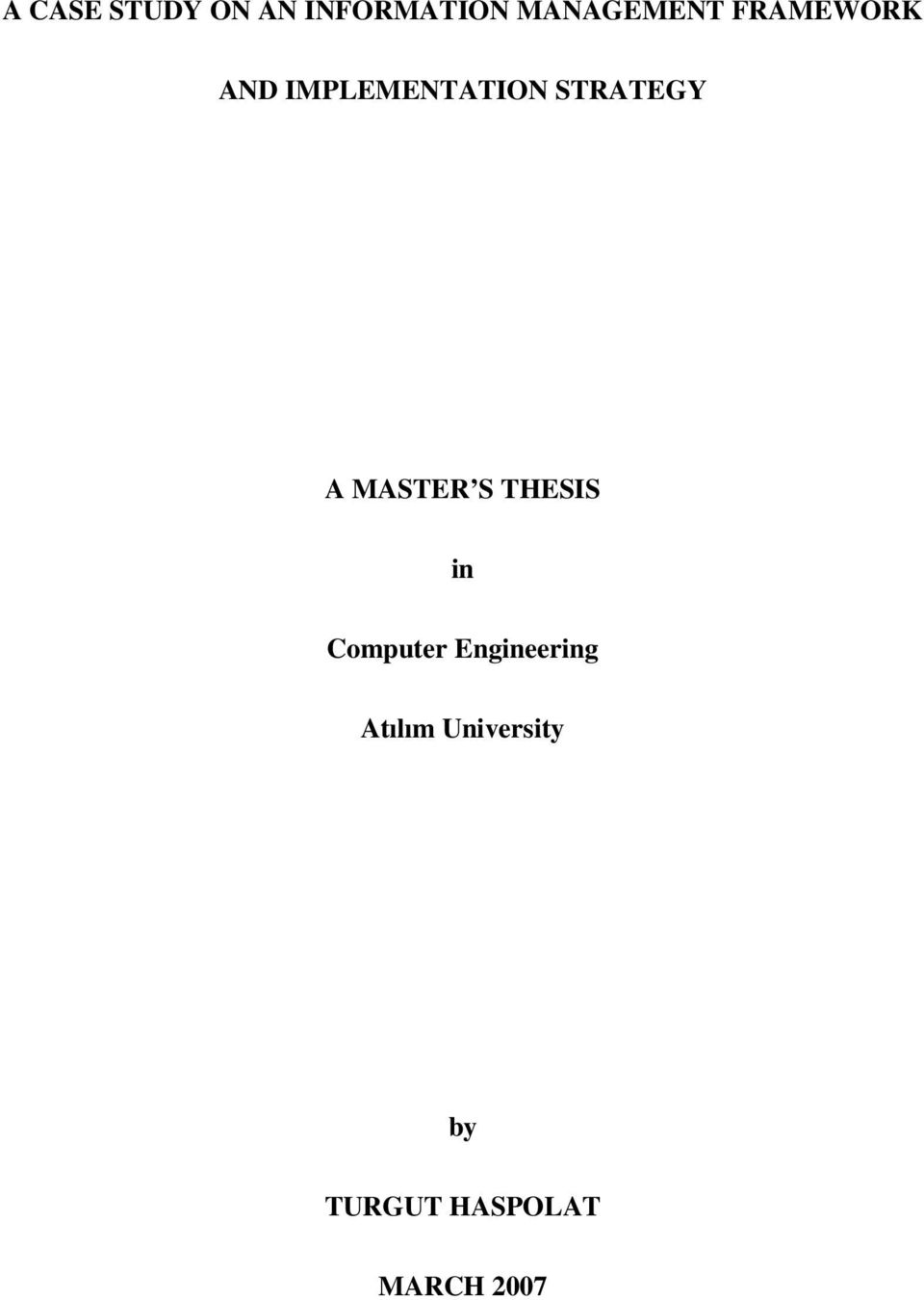 MASTER S THESIS in Computer Engineering