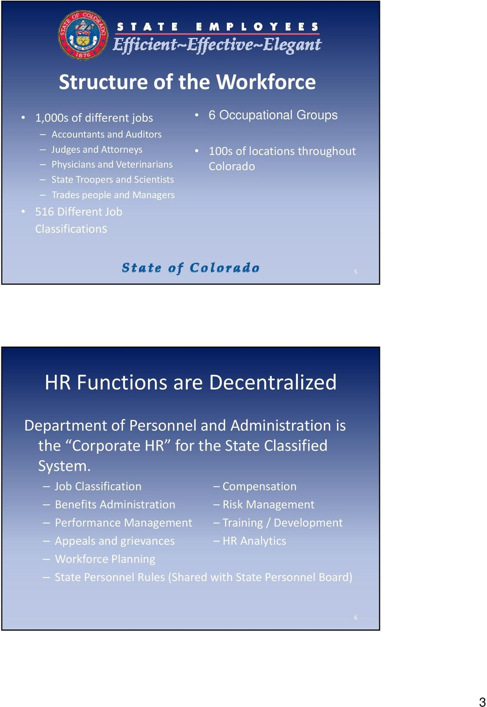 Department of Personnel and Administration is the Corporate HR for the State t Classified System.