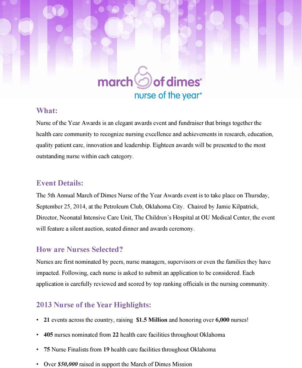Event Details: The 5th Annual March of Dimes Nurse of the Year Awards event is to take place on Thursday, September 25, 2014, at the Petroleum Club, Oklahoma City.
