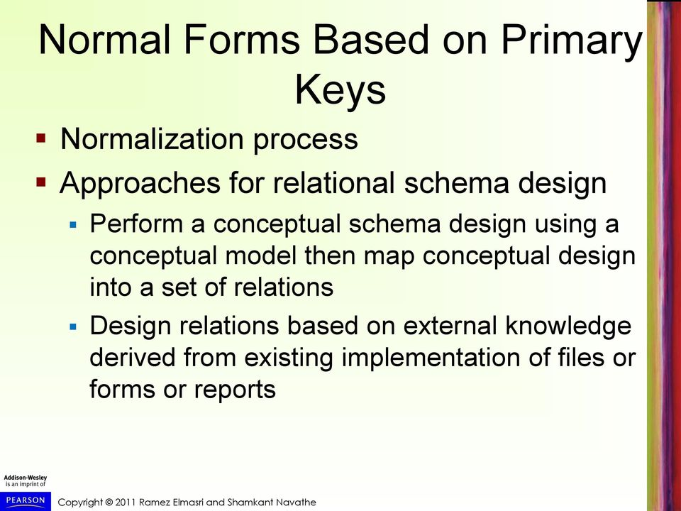model then map conceptual design into a set of relations Design relations based