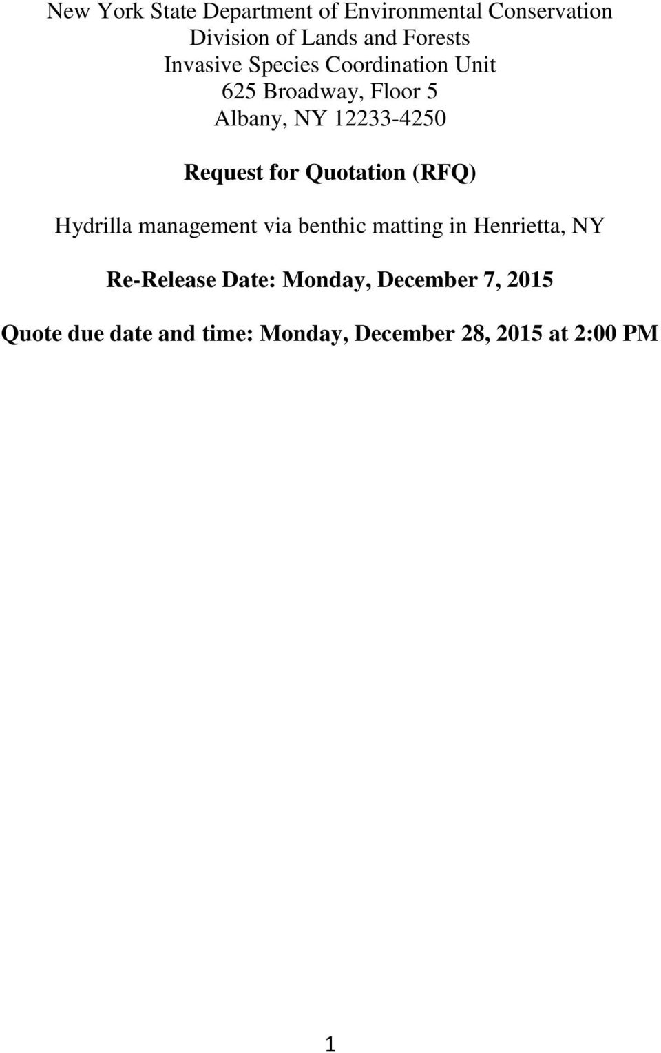 for Quotation (RFQ) Hydrilla management via benthic matting in Henrietta, NY Re-Release