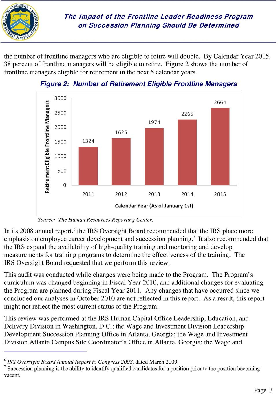 Figure 2: Number of Retirement Eligible Frontline Managers Source: The Human Resources Reporting Center.
