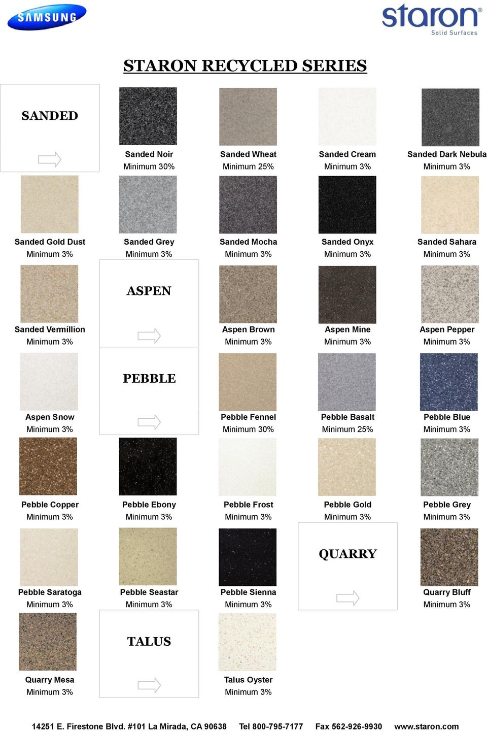 Pepper PEBBLE Aspen Snow Pebble Fennel Minimum 30% Pebble Basalt Minimum 25% Pebble Blue Pebble Copper Pebble Ebony