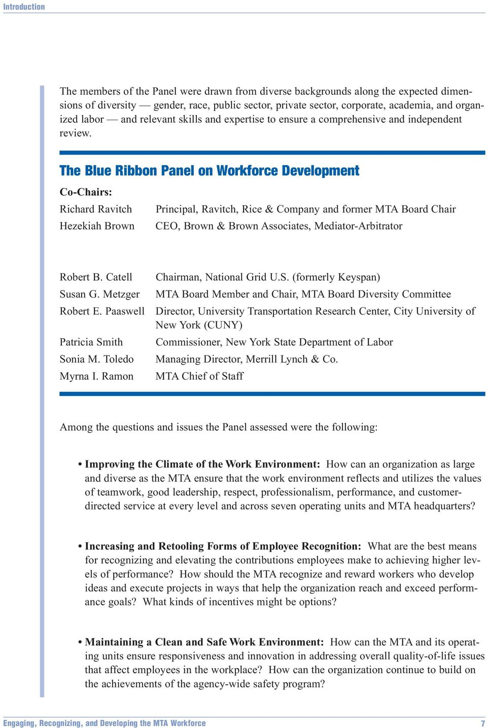The Blue Ribbon Panel on Workforce Development Co-Chairs: Richard Ravitch Principal, Ravitch, Rice & Company and former MTA Board Chair Hezekiah Brown CEO, Brown & Brown Associates,