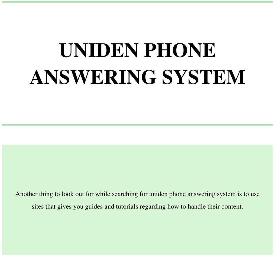 answering system is to use sites that gives you
