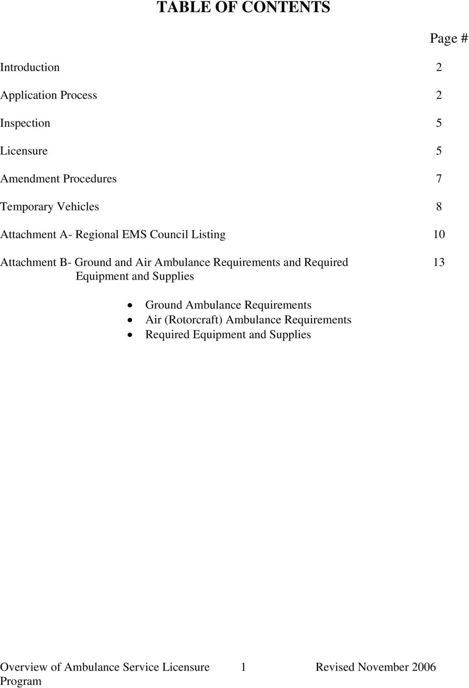 Ambulance Requirements and Required 13 Equipment and Supplies Ground Ambulance Requirements Air
