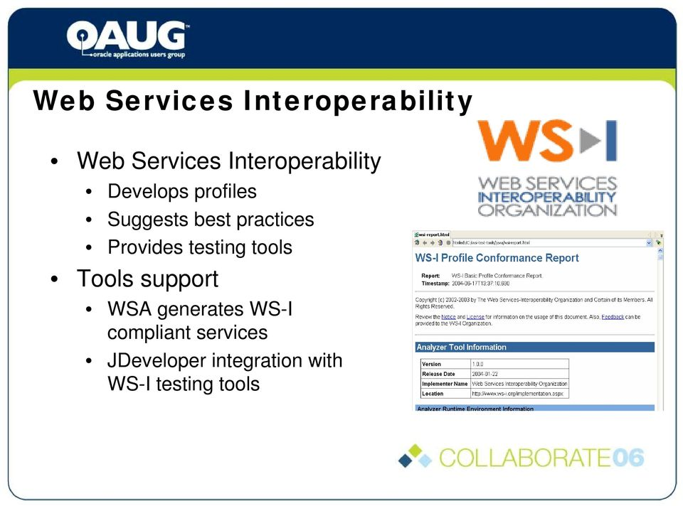 practices Provides testing tools Tools support WSA