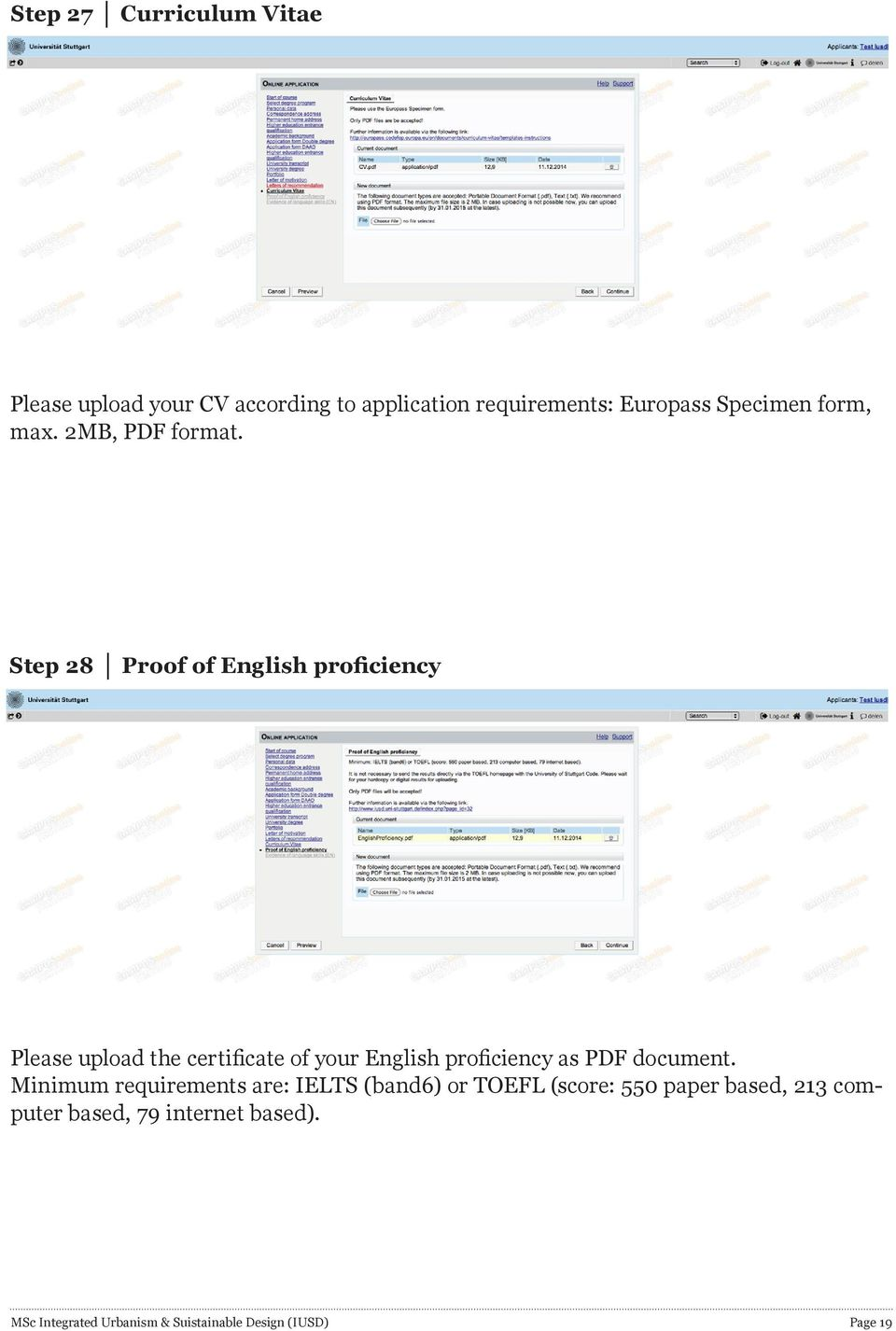 Step 28 Proof of English proficiency Please upload the certificate of your English proficiency as PDF