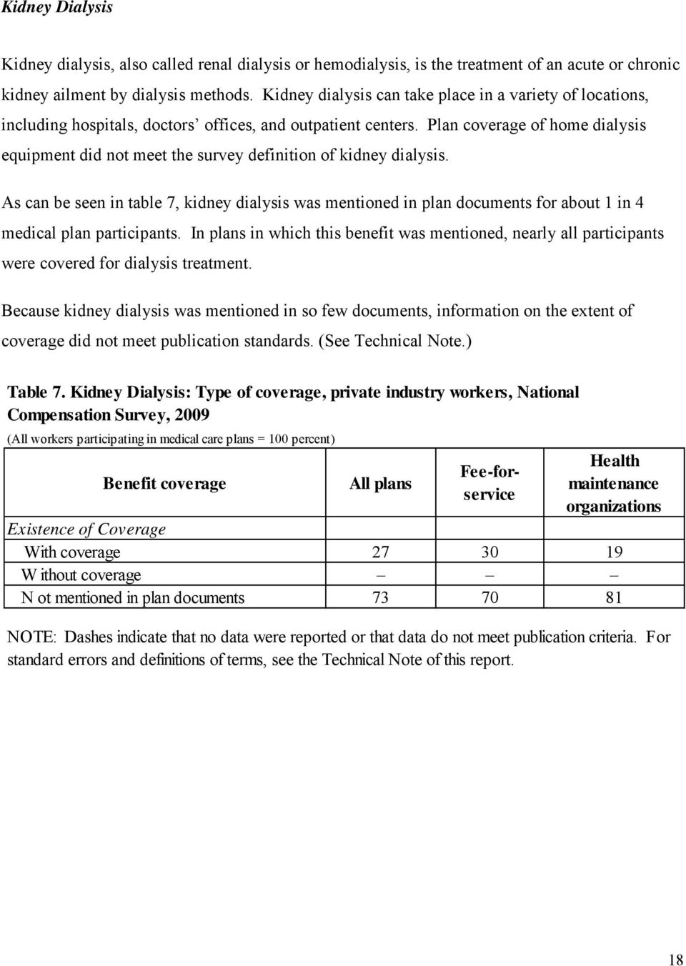 Plan coverage of home dialysis equipment did not meet the survey definition of kidney dialysis.