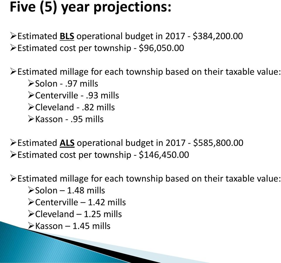 82 mills Kasson -.95 mills Estimated ALS operational budget in 2017 - $585,800.00 Estimated cost per township - $146,450.