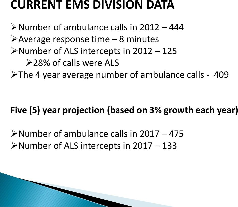 year average number of ambulance calls - 409 Five (5) year projection (based on 3%