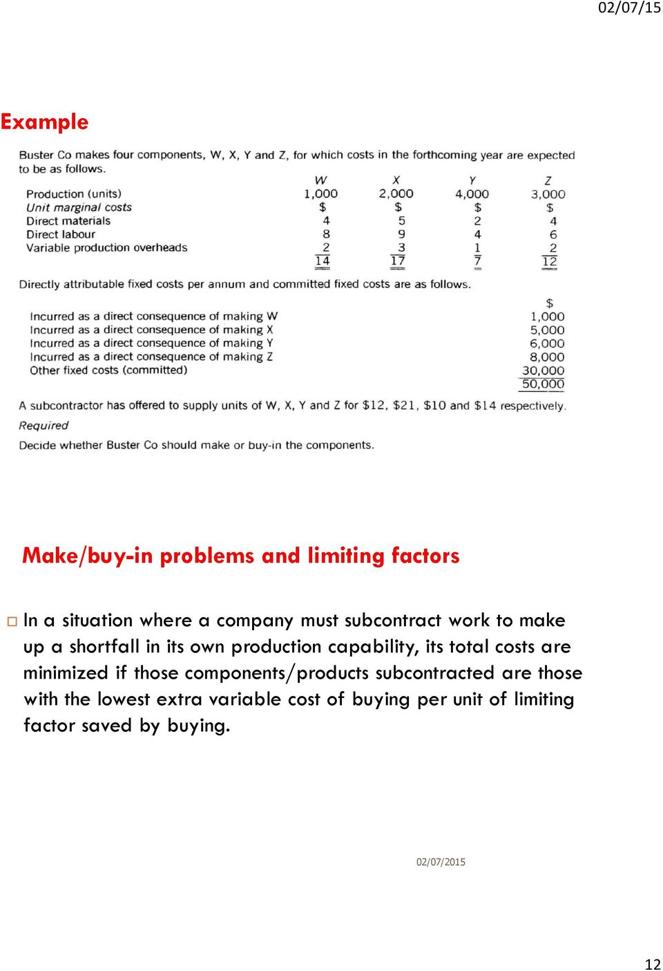 total costs are minimized if those components/products subcontracted are those with