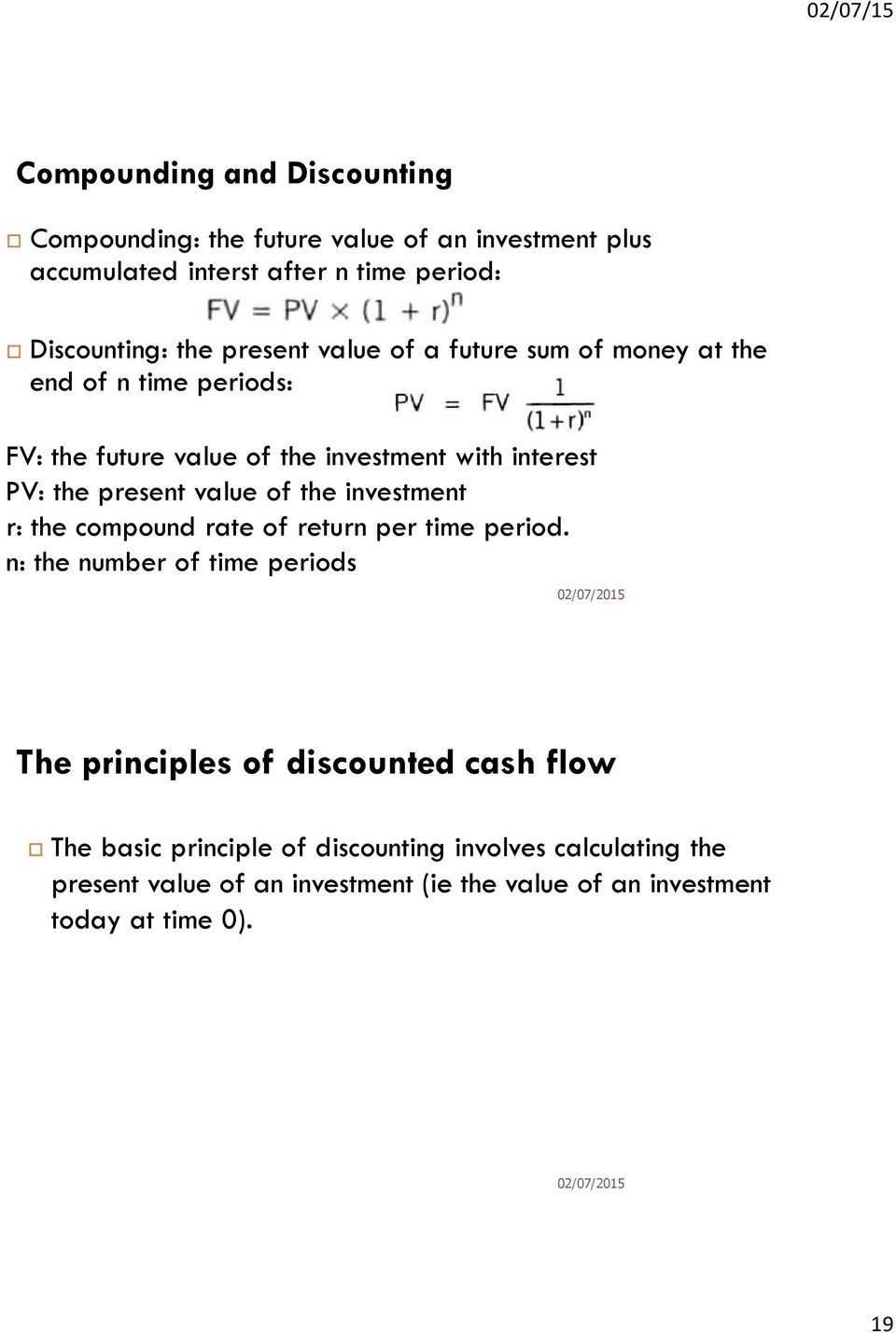 value of the investment r: the compound rate of return per time period.
